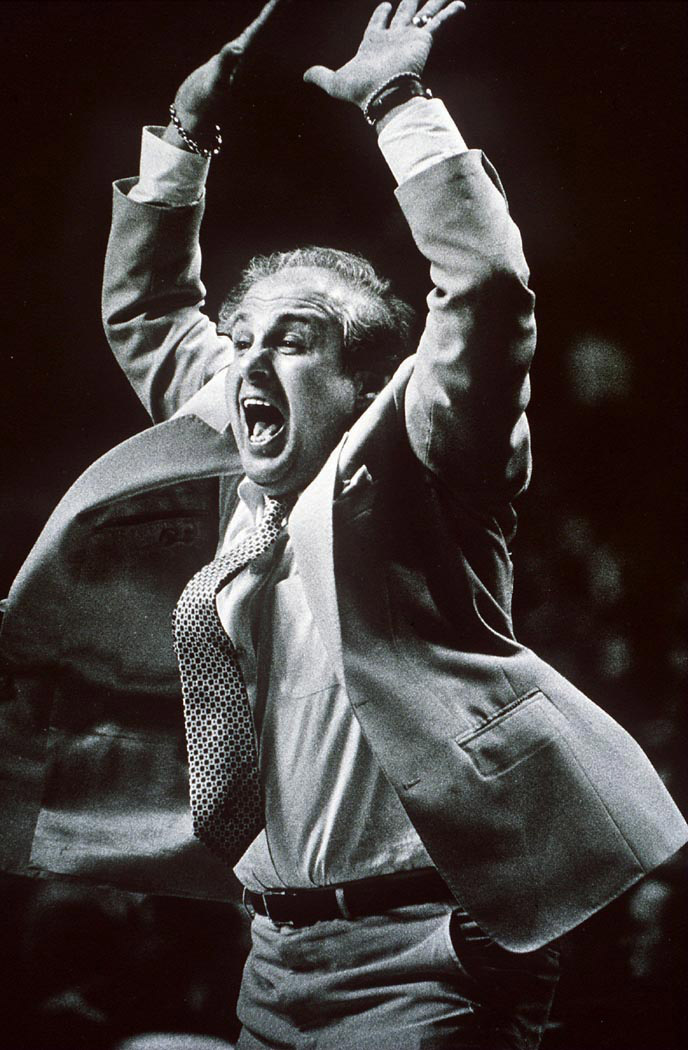 Rollie Massimino leaps for joy